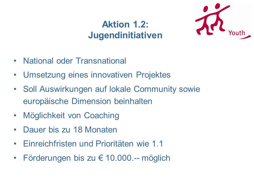 Aktion 1.2: Jugendinitiativen National oder Transnational Umsetzung eines innovativen Projektes Soll Auswirkungen auf lokale Community sowie europäische Dimension beinhalten Möglichkeit von Coaching Dauer bis zu 18 Monaten Einreichfristen und Prioritäten wie 1.1 Förderungen bis zu 10.000.-- möglich