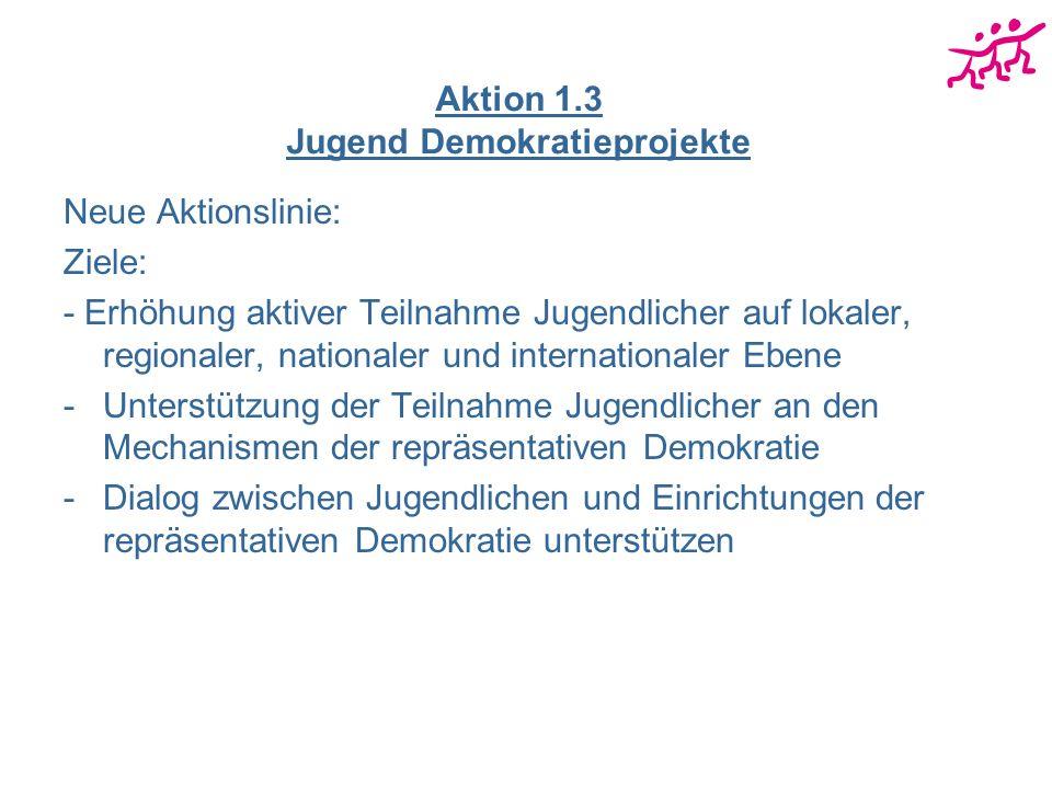 Aktion 1.3 Jugend Demokratieprojekte Neue Aktionslinie: Ziele: - Erhöhung aktiver Teilnahme Jugendlicher auf lokaler, regionaler, nationaler und inter