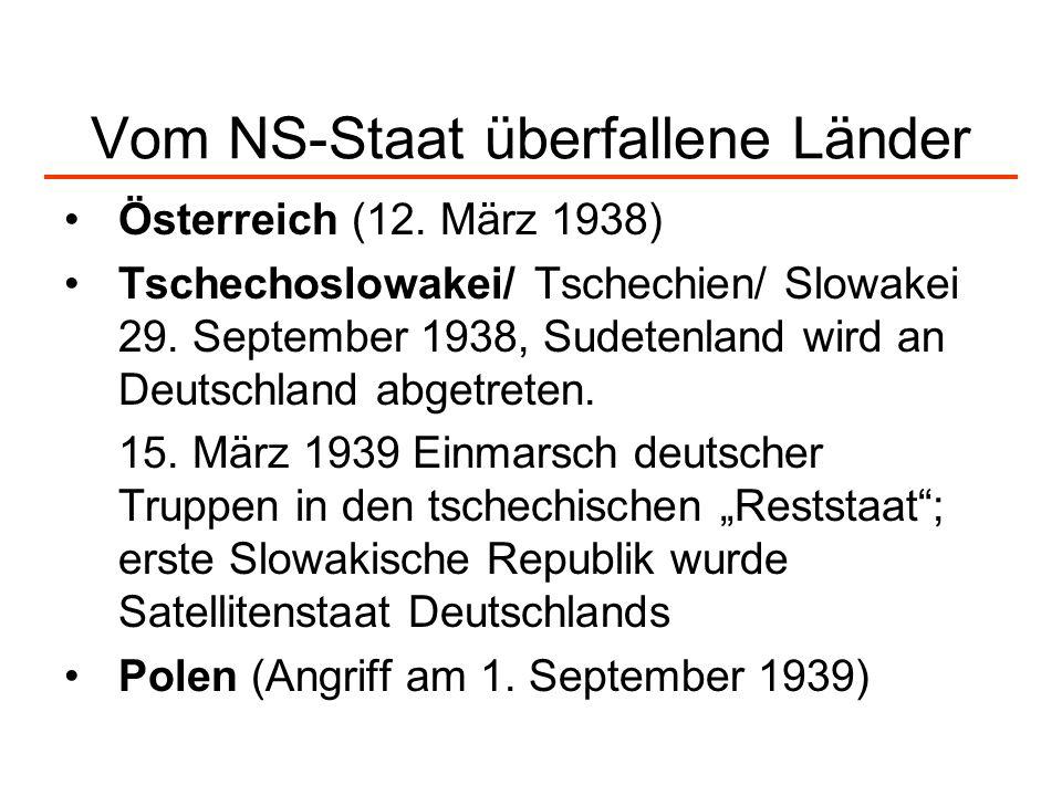 Vom NS-Staat überfallene Länder Österreich (12. März 1938) Tschechoslowakei/ Tschechien/ Slowakei 29. September 1938, Sudetenland wird an Deutschland