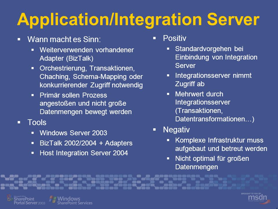 Application/Integration Server Wann macht es Sinn: Weiterverwenden vorhandener Adapter (BizTalk) Orchestrierung, Transaktionen, Chaching, Schema-Mappi