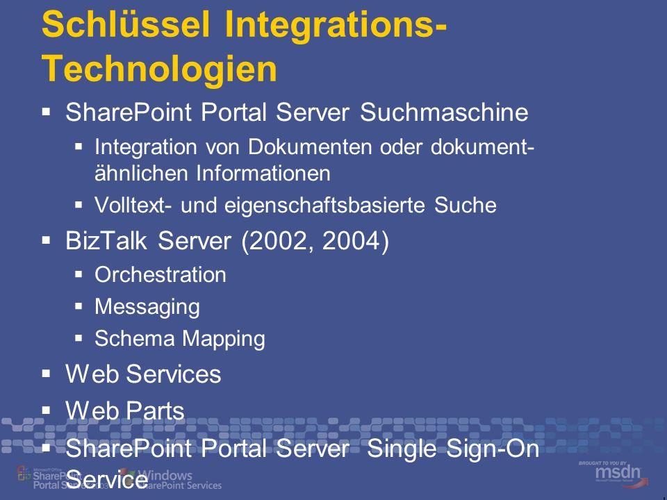 Schlüssel Integrations- Technologien SharePoint Portal Server Suchmaschine Integration von Dokumenten oder dokument- ähnlichen Informationen Volltext-