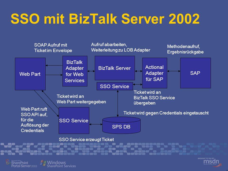 SSO mit BizTalk Server 2002 Web Part SSO Service Web Part ruft SSO API auf, für die Auflösung der Credentials SPS DB SSO Service erzeugt Ticket SAP Ti