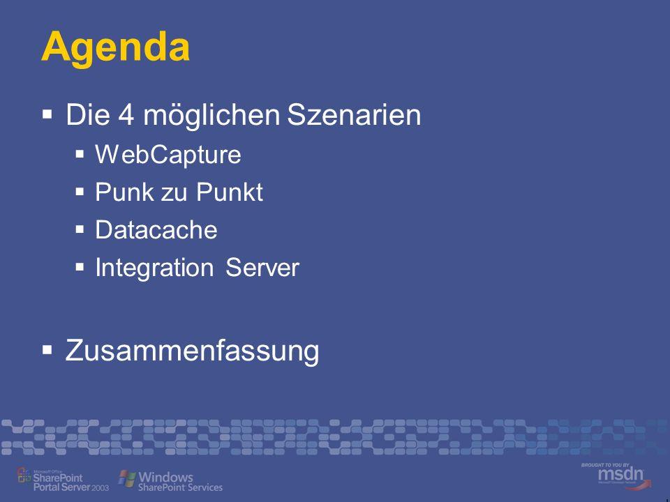Mögliche Szenarien Web Part Web Capture App HTML / XML / WSRP Web Part Punkt-zu-Punkt App SOAP, ADO.NET, App.