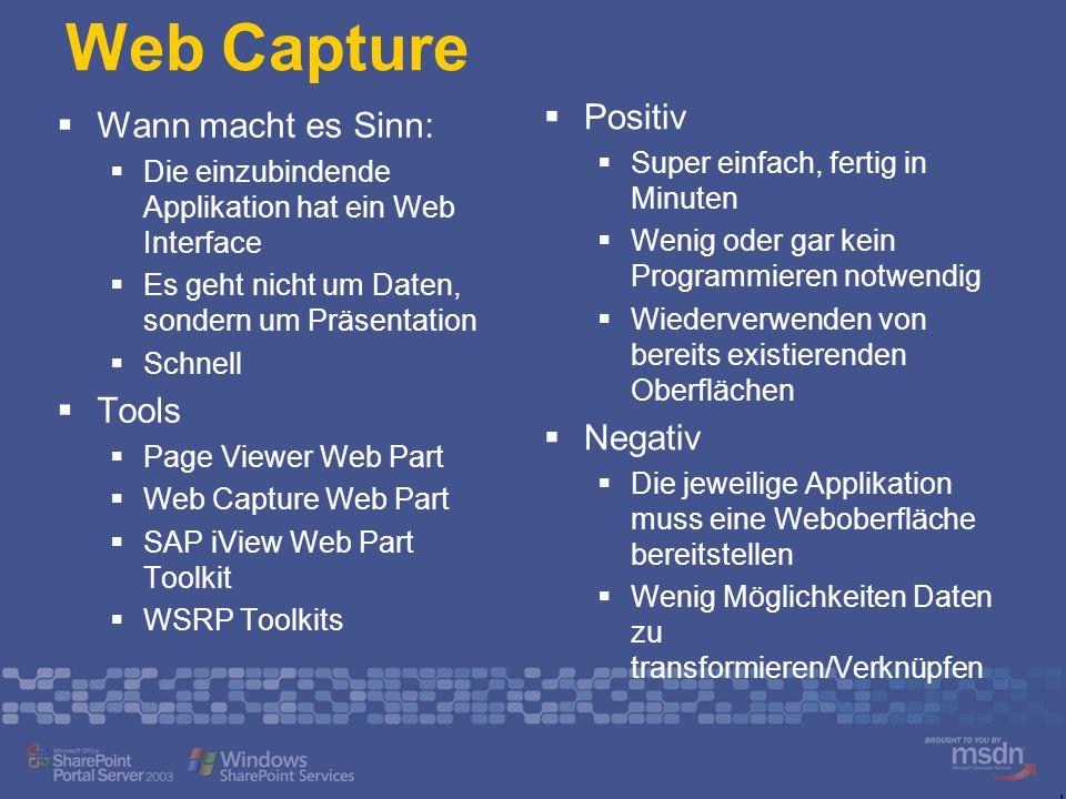 SSO mit Punkt-Zu-Punkt Kommunikation zu LOB Web Part SSO Service Web Part ruft SSO auf, um Credentials zu erhalten SPS DB SSO Dienst liest Credentials aus SAP.NET Connector API Web Part ruft managed API auf LOB Methodenaufruf Ergebnisse zurück