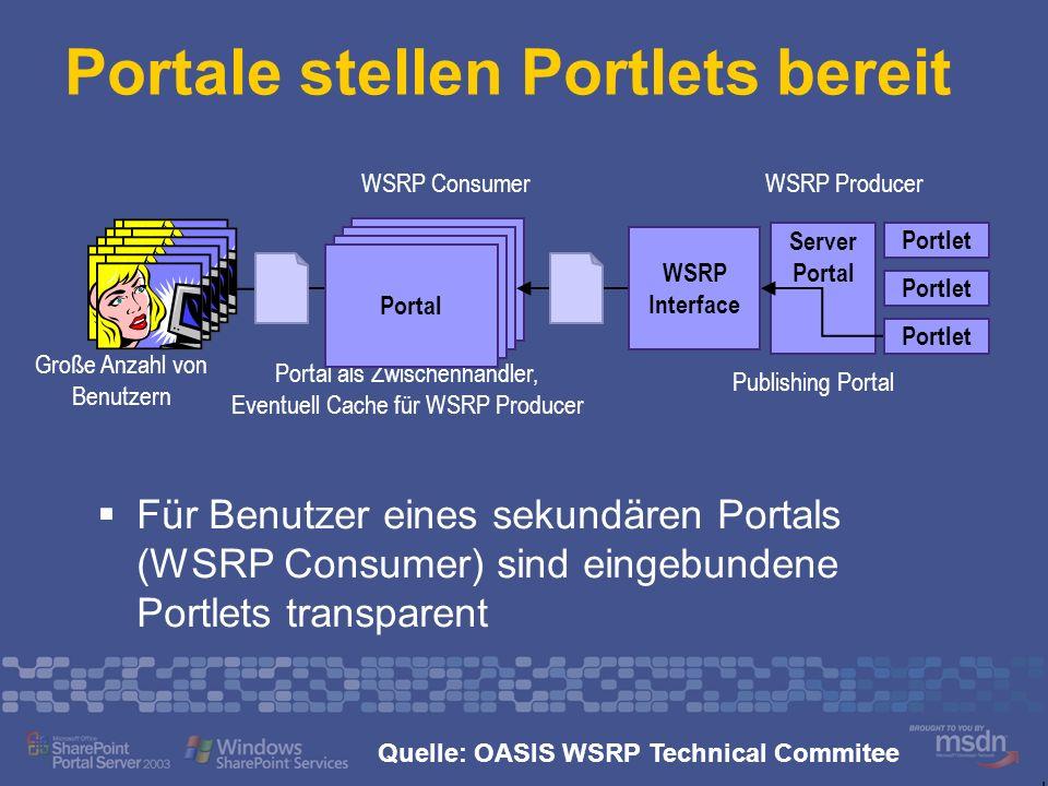 Lösungen von Microsoft Einsatz von WSRP in Portalen WSRP Consumer Web Part Toolkit http://www.gotdotnet.com/workspaces/workspace.aspx?id=2e3d8a5 7-ec9f-4d16-9a81-a395679d6392 http://www.gotdotnet.com/workspaces/workspace.aspx?id=2e3d8a5 7-ec9f-4d16-9a81-a395679d6392 Portale stellen Portlets bereit WSRP WebService Toolkit for SharePoint http://www.gotdotnet.com/workspaces/workspace.aspx?id=805b355 9-c810-4119-86f4-11ba5c16a5b0 http://www.gotdotnet.com/workspaces/workspace.aspx?id=805b355 9-c810-4119-86f4-11ba5c16a5b0 SAP iView einbinden SAP iView Web Part Toolkit http://www.gotdotnet.com/workspaces/workspace.aspx?id=d6129dc 0-efc4-457d-a821-fd26aef566de