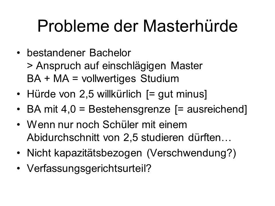 Probleme der Masterhürde bestandener Bachelor > Anspruch auf einschlägigen Master BA + MA = vollwertiges Studium Hürde von 2,5 willkürlich [= gut minu