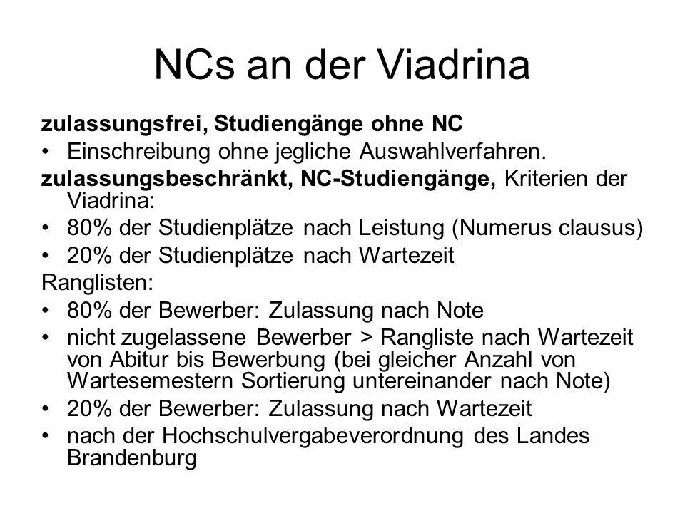 NCs an der Viadrina zulassungsfrei, Studiengänge ohne NC Einschreibung ohne jegliche Auswahlverfahren. zulassungsbeschränkt, NC-Studiengänge, Kriterie