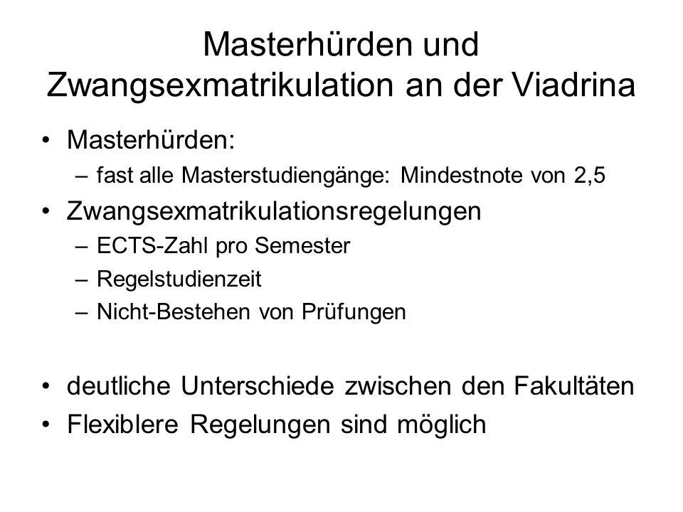 Masterhürden und Zwangsexmatrikulation an der Viadrina Masterhürden: –fast alle Masterstudiengänge: Mindestnote von 2,5 Zwangsexmatrikulationsregelung