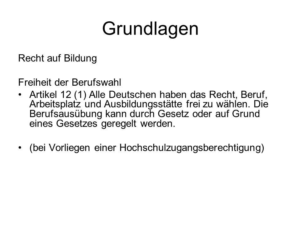 Grundlagen Recht auf Bildung Freiheit der Berufswahl Artikel 12 (1) Alle Deutschen haben das Recht, Beruf, Arbeitsplatz und Ausbildungsstätte frei zu