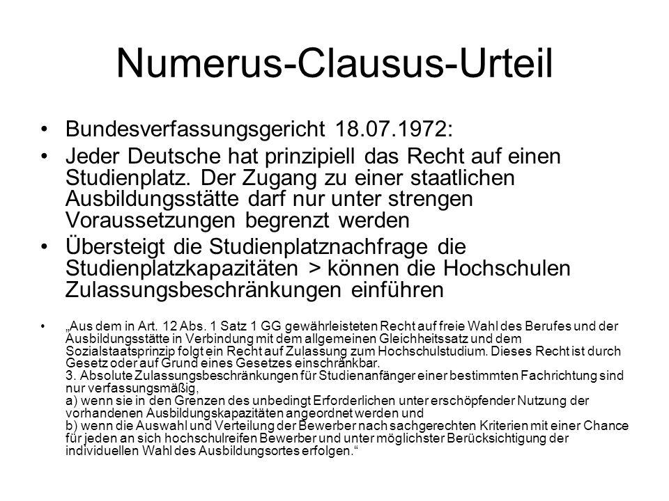 Numerus-Clausus-Urteil Bundesverfassungsgericht 18.07.1972: Jeder Deutsche hat prinzipiell das Recht auf einen Studienplatz. Der Zugang zu einer staat
