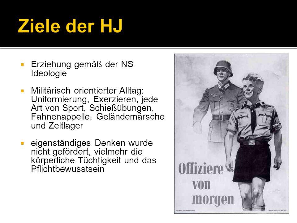 Erziehung gemäß der NS- Ideologie Militärisch orientierter Alltag: Uniformierung, Exerzieren, jede Art von Sport, Schießübungen, Fahnenappelle, Geländ