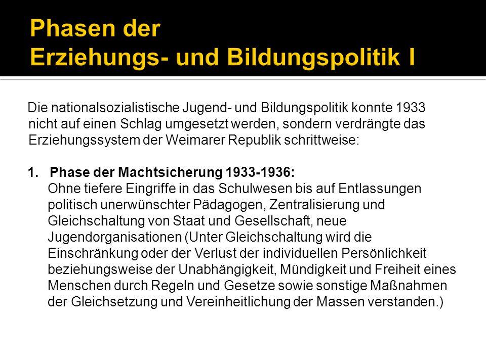 Für die Heranbildung von begeisterten einsatzbereiten Nationalsozialisten war die vollständige Erfassung der arischen Jugend in außerschulischen Organisationen der Hitler-Jugend und ihrem weiblichen Zweig, dem Bund Deutscher Mädchen (BDM), besonders wichtig.
