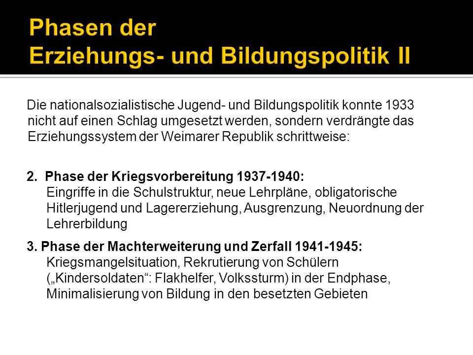 Die nationalsozialistische Jugend- und Bildungspolitik konnte 1933 nicht auf einen Schlag umgesetzt werden, sondern verdrängte das Erziehungssystem de