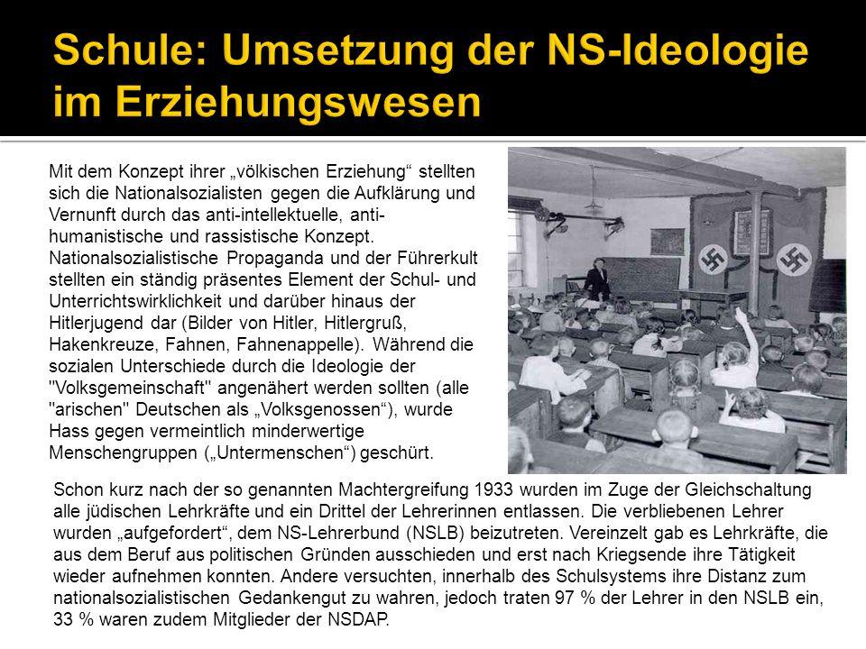 Mit dem Konzept ihrer völkischen Erziehung stellten sich die Nationalsozialisten gegen die Aufklärung und Vernunft durch das anti-intellektuelle, anti