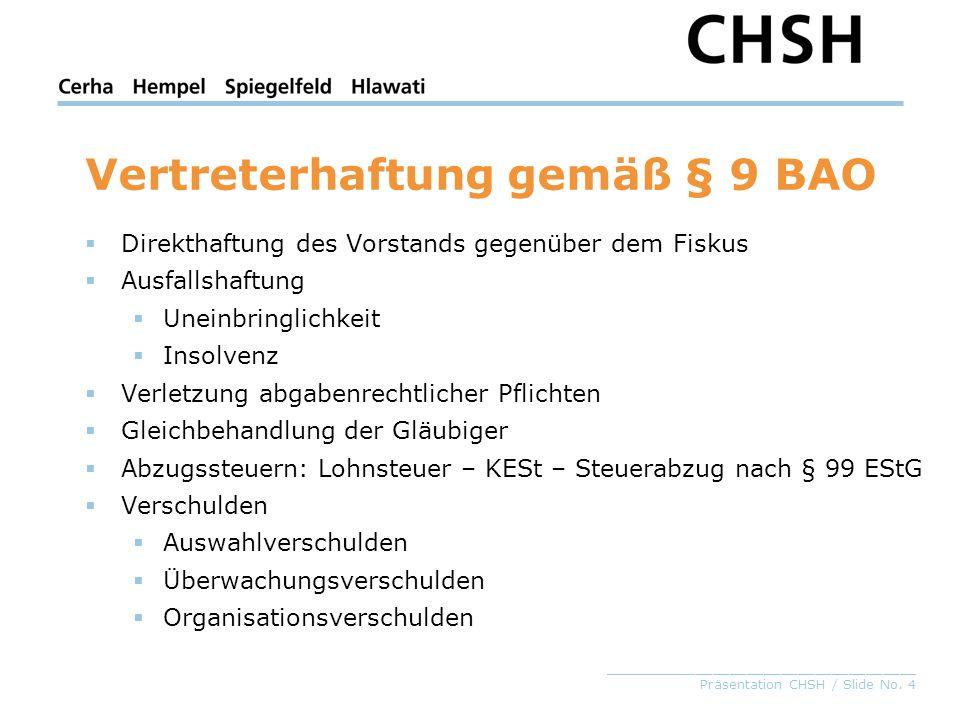 _____________________________________ Präsentation CHSH / Slide No. 4 Vertreterhaftung gemäß § 9 BAO Direkthaftung des Vorstands gegenüber dem Fiskus