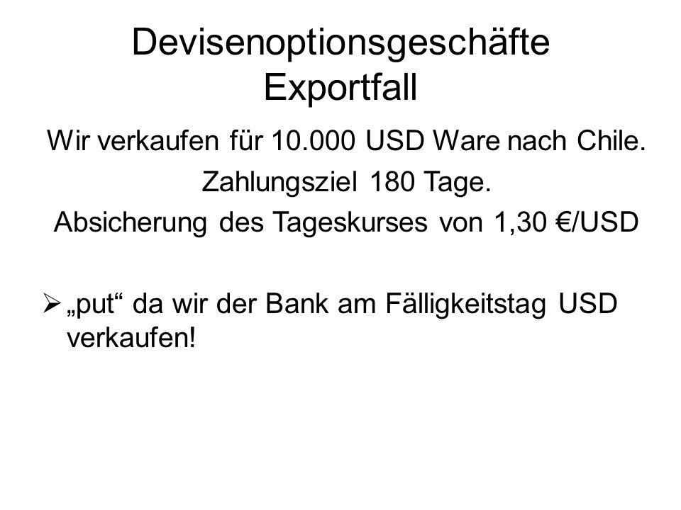 Devisenoptionsgeschäfte Exportfall Wir verkaufen für 10.000 USD Ware nach Chile. Zahlungsziel 180 Tage. Absicherung des Tageskurses von 1,30 /USD put