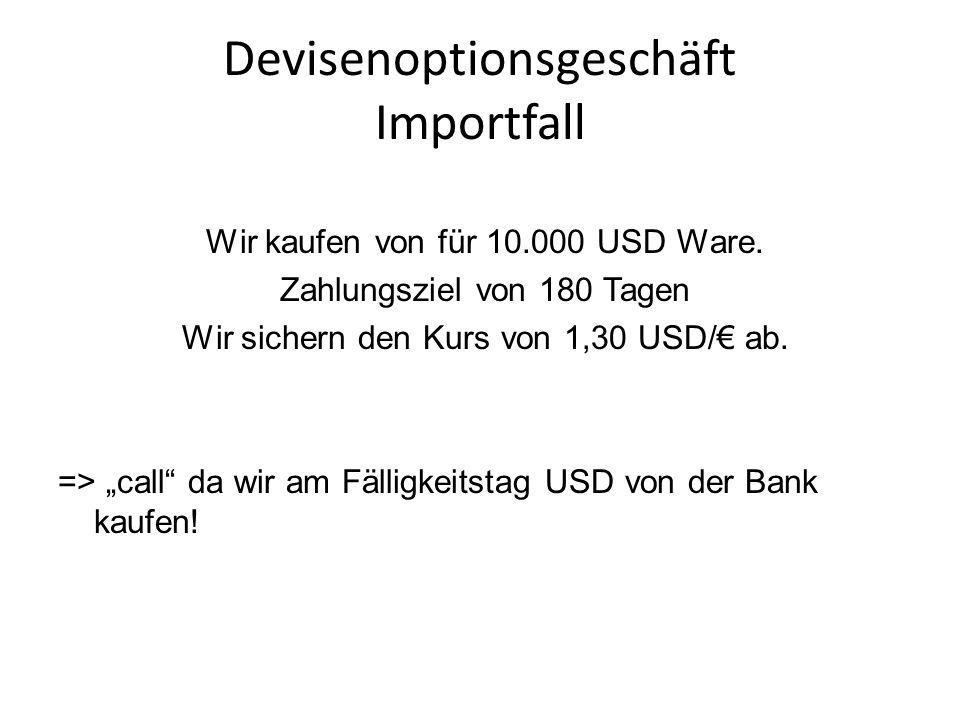 Devisenoptionsgeschäft Importfall Wir kaufen von für 10.000 USD Ware. Zahlungsziel von 180 Tagen Wir sichern den Kurs von 1,30 USD/ ab. => call da wir