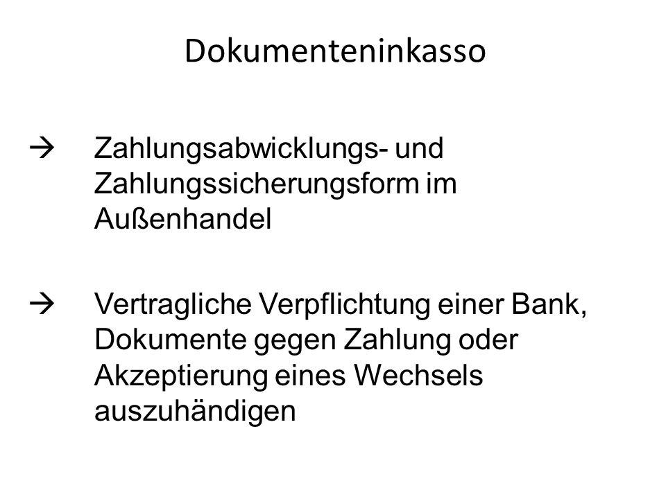Dokumenteninkasso Zahlungsabwicklungs- und Zahlungssicherungsform im Außenhandel Vertragliche Verpflichtung einer Bank, Dokumente gegen Zahlung oder A