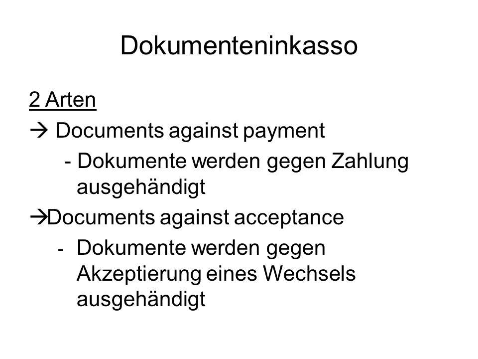 Dokumenteninkasso 2 Arten Documents against payment - Dokumente werden gegen Zahlung ausgehändigt Documents against acceptance - Dokumente werden gege