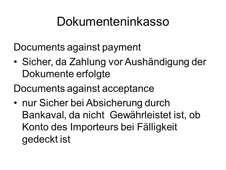 Dokumenteninkasso Documents against payment Sicher, da Zahlung vor Aushändigung der Dokumente erfolgte Documents against acceptance nur Sicher bei Abs