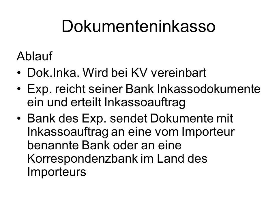 Dokumenteninkasso Ablauf Dok.Inka. Wird bei KV vereinbart Exp. reicht seiner Bank Inkassodokumente ein und erteilt Inkassoauftrag Bank des Exp. sendet