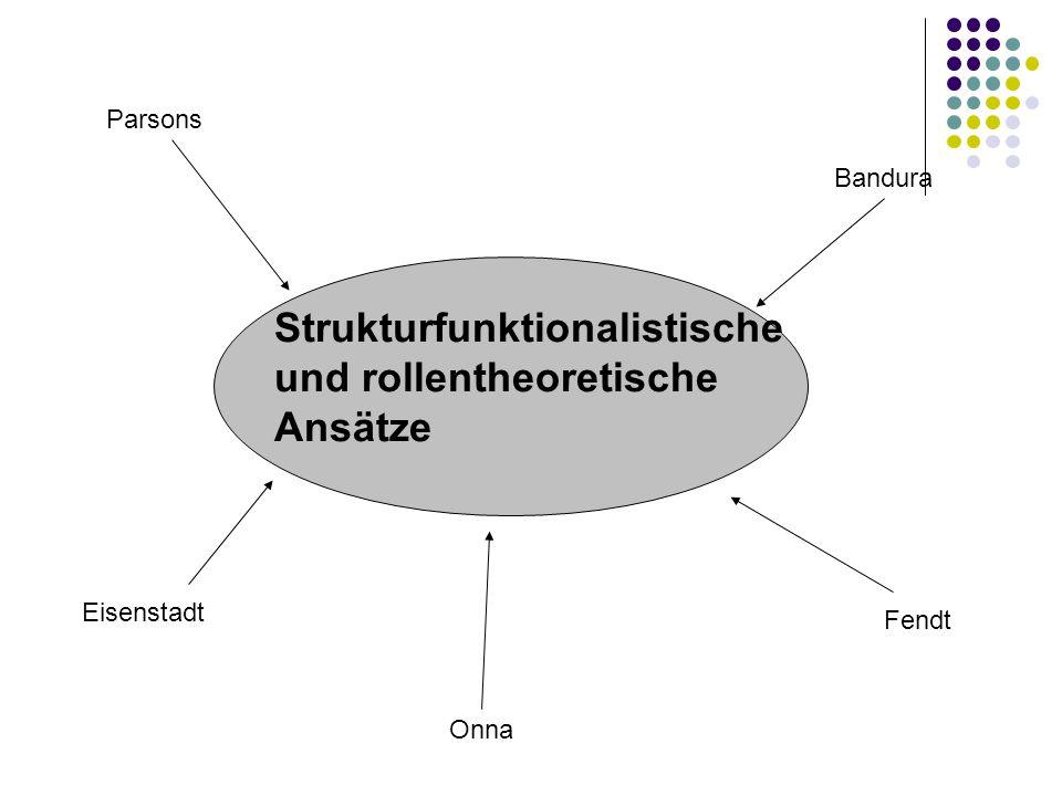 Strukturfunktionalistische und rollentheoretische Ansätze Parsons Onna Eisenstadt Bandura Fendt