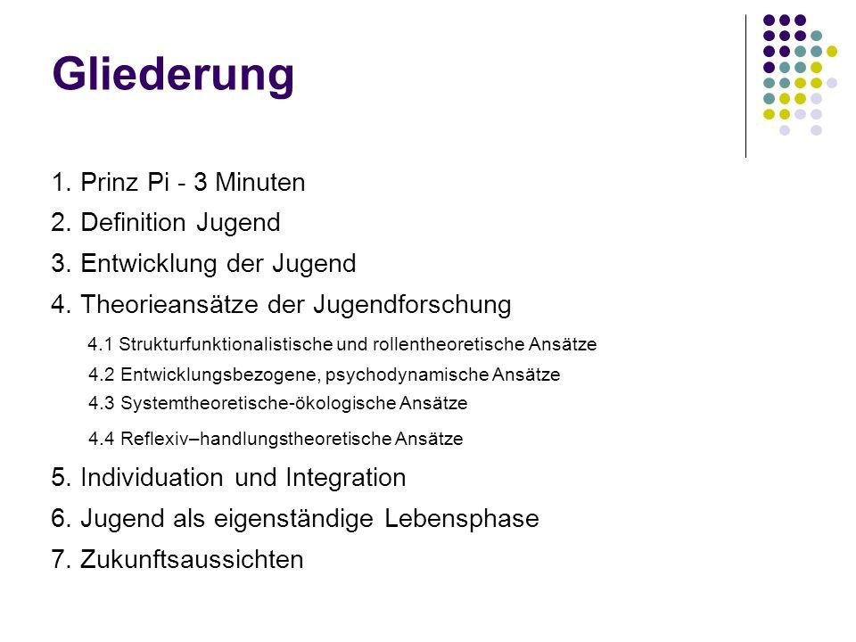 Gliederung 1. Prinz Pi - 3 Minuten 2. Definition Jugend 3. Entwicklung der Jugend 4. Theorieansätze der Jugendforschung 4.1 Strukturfunktionalistische