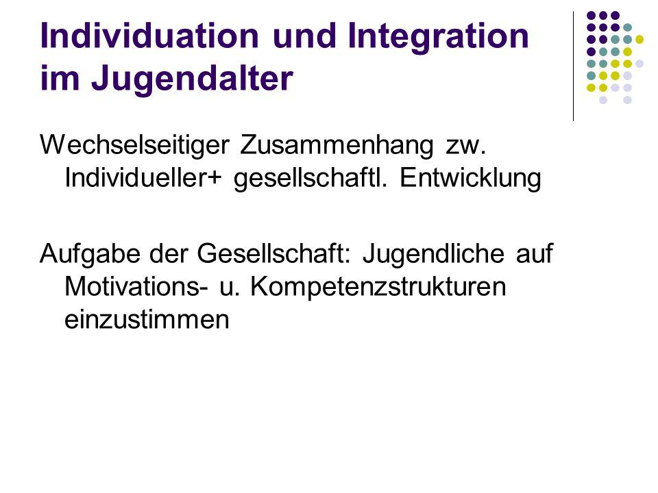 Individuation und Integration im Jugendalter Wechselseitiger Zusammenhang zw. Individueller+ gesellschaftl. Entwicklung Aufgabe der Gesellschaft: Juge