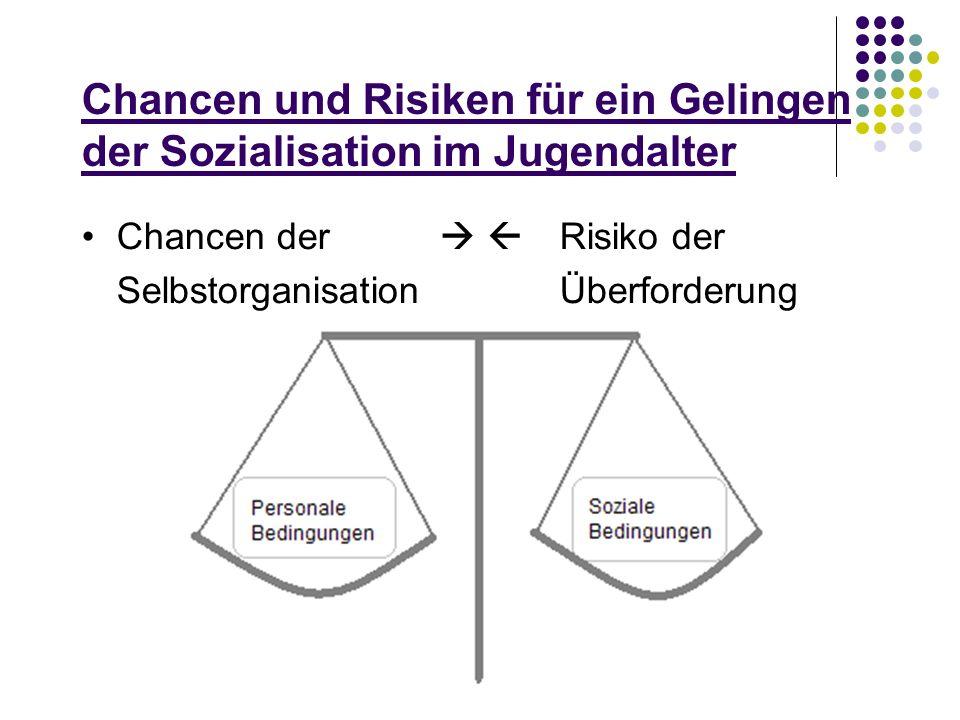 Chancen und Risiken für ein Gelingen der Sozialisation im Jugendalter Chancen der Risiko der Selbstorganisation Überforderung