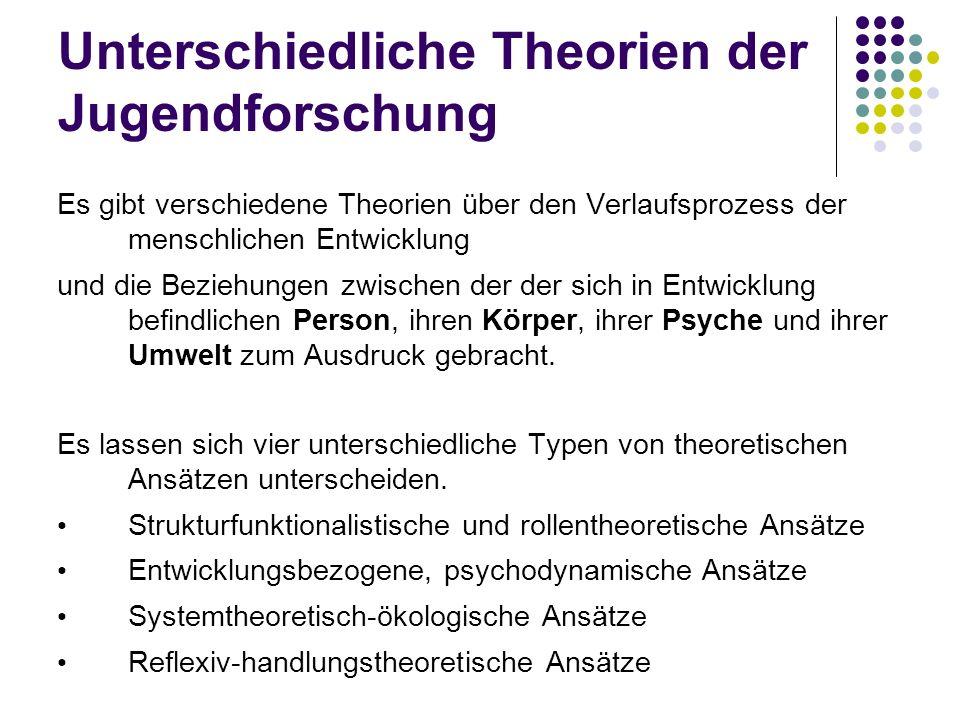 Unterschiedliche Theorien der Jugendforschung Es gibt verschiedene Theorien über den Verlaufsprozess der menschlichen Entwicklung und die Beziehungen