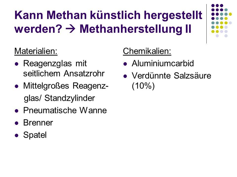 Kann Methan künstlich hergestellt werden? Methanherstellung II Materialien: Reagenzglas mit seitlichem Ansatzrohr Mittelgroßes Reagenz- glas/ Standzyl