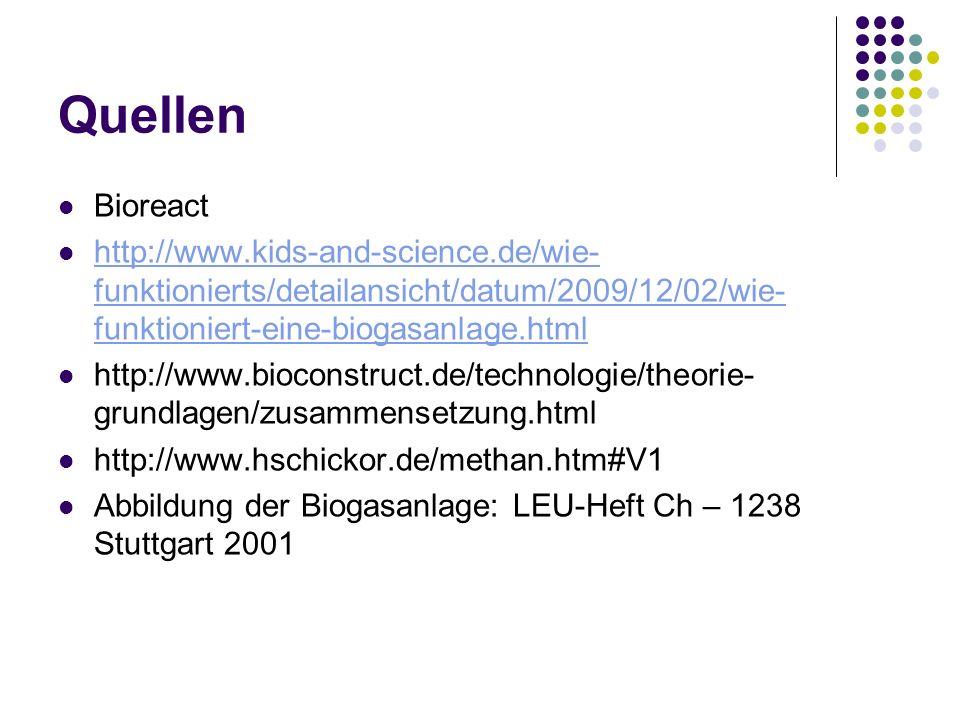 Quellen Bioreact http://www.kids-and-science.de/wie- funktionierts/detailansicht/datum/2009/12/02/wie- funktioniert-eine-biogasanlage.html http://www.