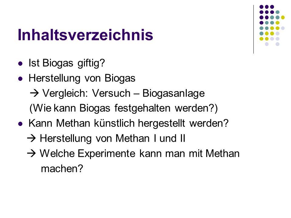 Inhaltsverzeichnis Ist Biogas giftig? Herstellung von Biogas Vergleich: Versuch – Biogasanlage (Wie kann Biogas festgehalten werden?) Kann Methan küns