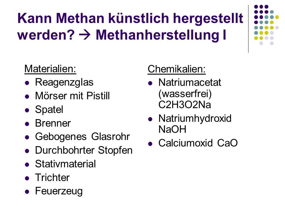 Kann Methan künstlich hergestellt werden? Methanherstellung I Materialien: Reagenzglas Mörser mit Pistill Spatel Brenner Gebogenes Glasrohr Durchbohrt