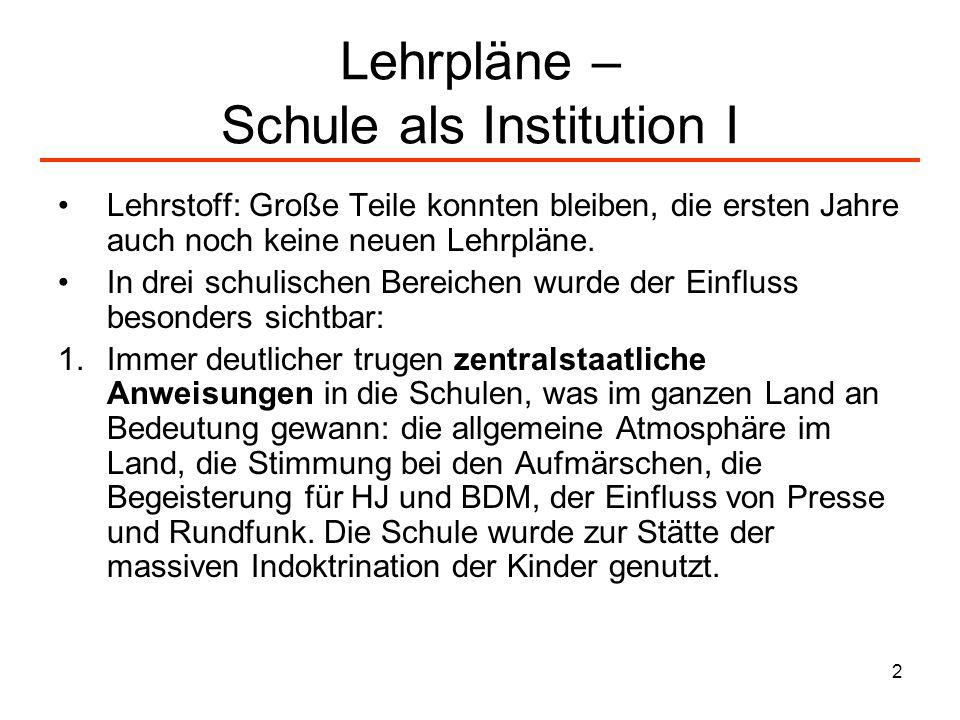 3 Lehrpläne – Schule als Institution II 2.