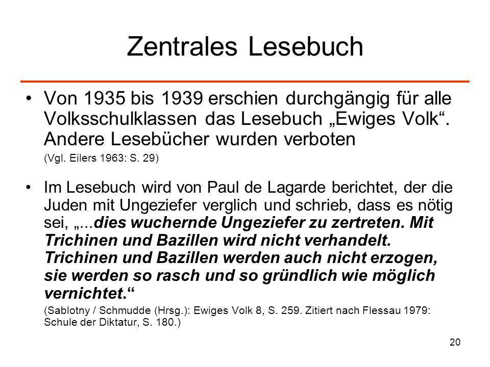 20 Zentrales Lesebuch Von 1935 bis 1939 erschien durchgängig für alle Volksschulklassen das Lesebuch Ewiges Volk. Andere Lesebücher wurden verboten (V