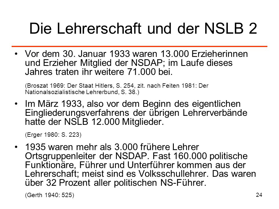 24 Die Lehrerschaft und der NSLB 2 Vor dem 30. Januar 1933 waren 13.000 Erzieherinnen und Erzieher Mitglied der NSDAP; im Laufe dieses Jahres traten i