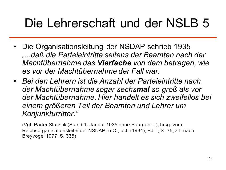 27 Die Lehrerschaft und der NSLB 5 Die Organisationsleitung der NSDAP schrieb 1935...daß die Parteieintritte seitens der Beamten nach der Machtübernah