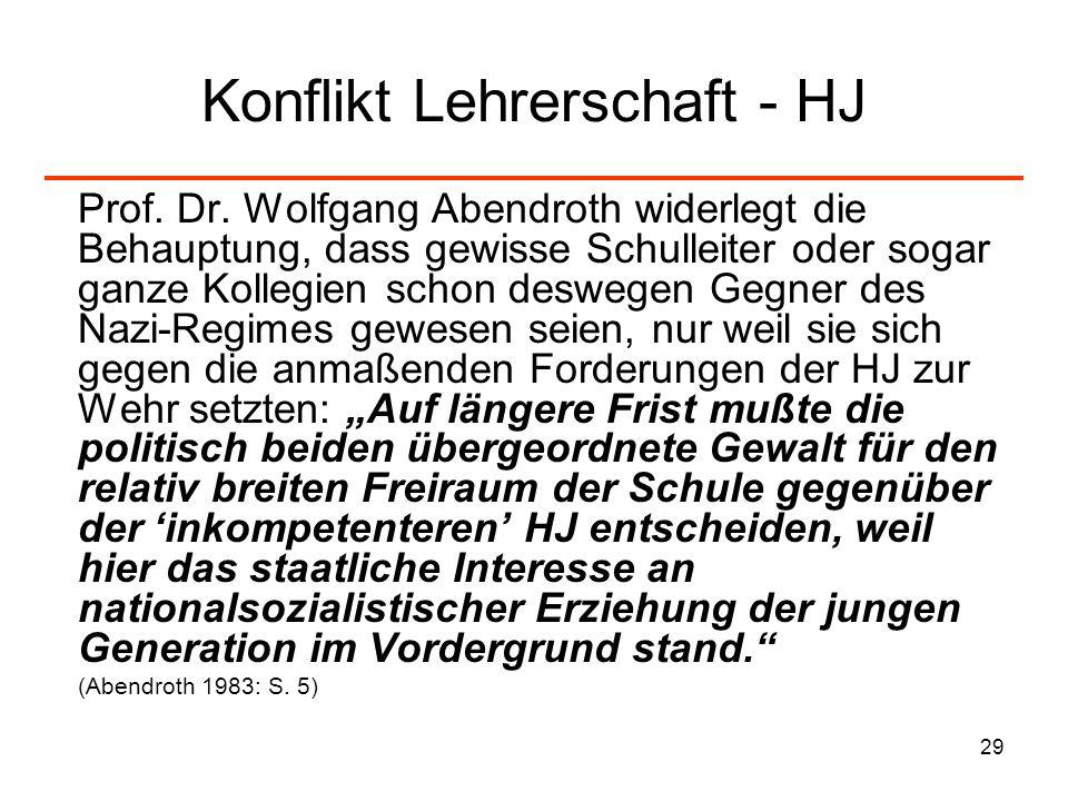 29 Konflikt Lehrerschaft - HJ Prof. Dr. Wolfgang Abendroth widerlegt die Behauptung, dass gewisse Schulleiter oder sogar ganze Kollegien schon deswege