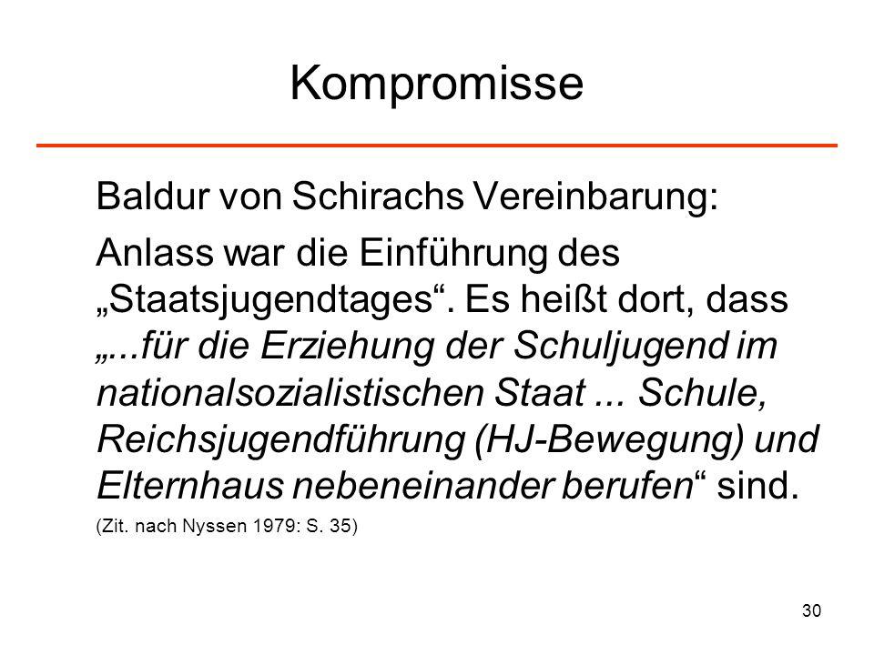 30 Kompromisse Baldur von Schirachs Vereinbarung: Anlass war die Einführung des Staatsjugendtages. Es heißt dort, dass...für die Erziehung der Schulju