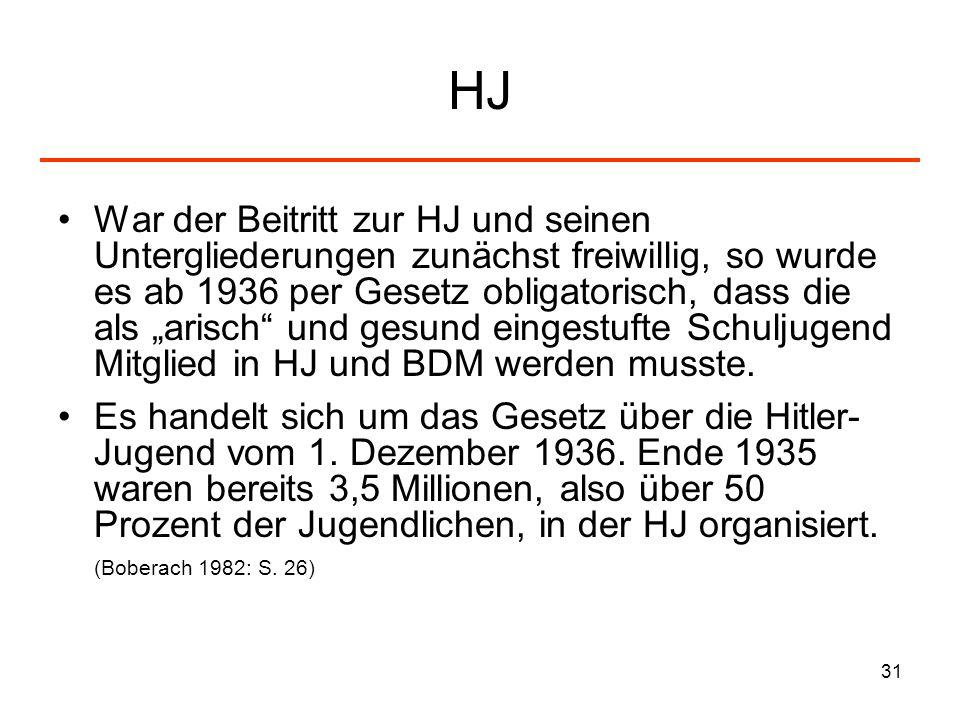 31 HJ War der Beitritt zur HJ und seinen Untergliederungen zunächst freiwillig, so wurde es ab 1936 per Gesetz obligatorisch, dass die als arisch und