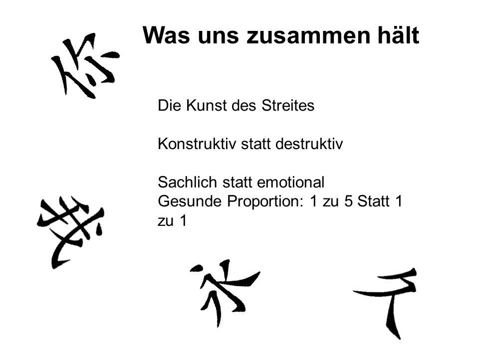 Die Kunst des Streites Konstruktiv statt destruktiv Sachlich statt emotional Gesunde Proportion: 1 zu 5 Statt 1 zu 1 Was uns zusammen hält