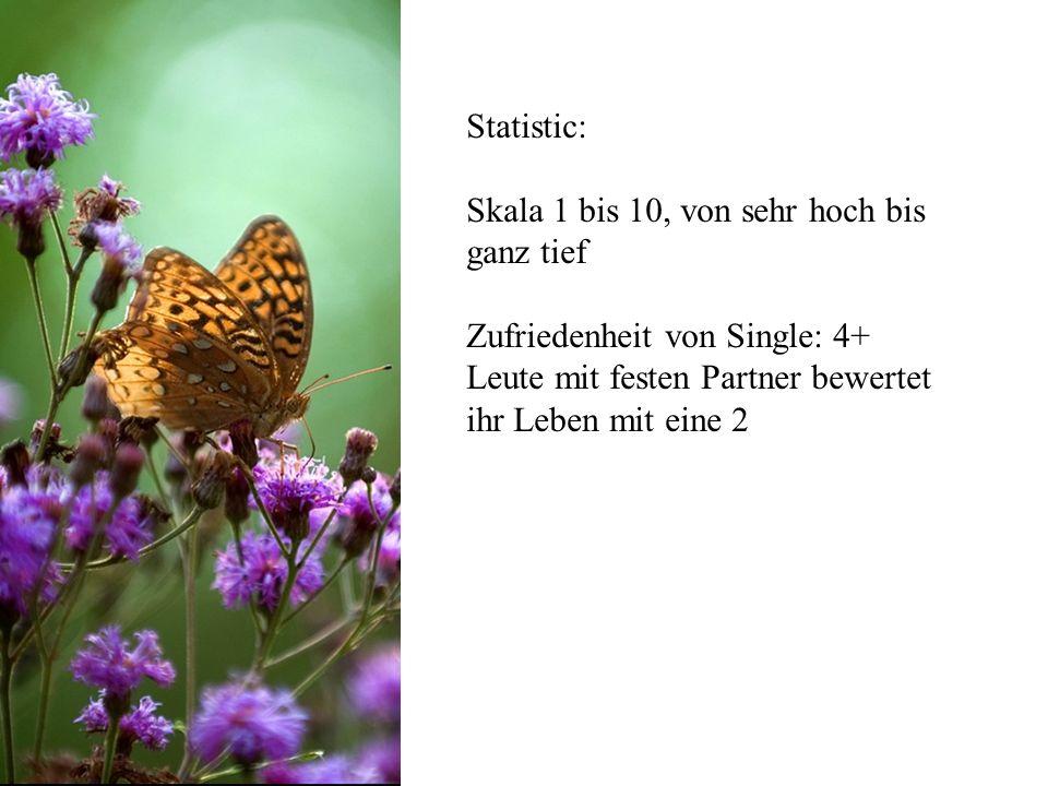 Statistic: Skala 1 bis 10, von sehr hoch bis ganz tief Zufriedenheit von Single: 4+ Leute mit festen Partner bewertet ihr Leben mit eine 2