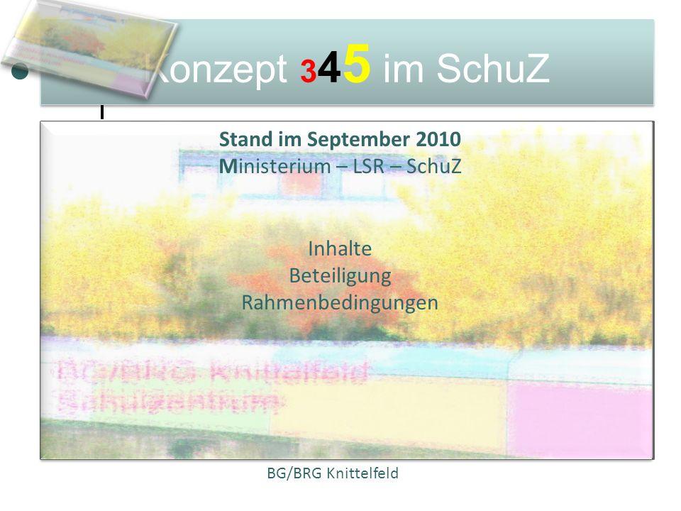 Konzept 3 4 5 im SchuZ Stand im September 2010 Ministerium – LSR – SchuZ Inhalte Beteiligung Rahmenbedingungen BG/BRG Knittelfeld