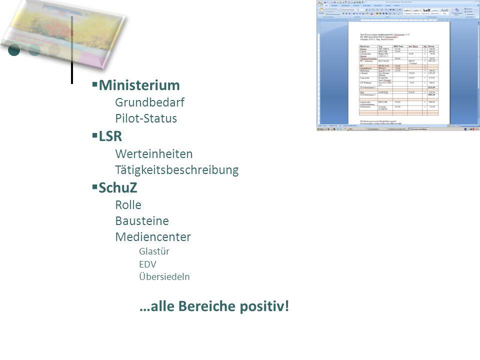 Ministerium Grundbedarf Pilot-Status LSR Werteinheiten Tätigkeitsbeschreibung SchuZ Rolle Bausteine Mediencenter Glastür EDV Übersiedeln …alle Bereich