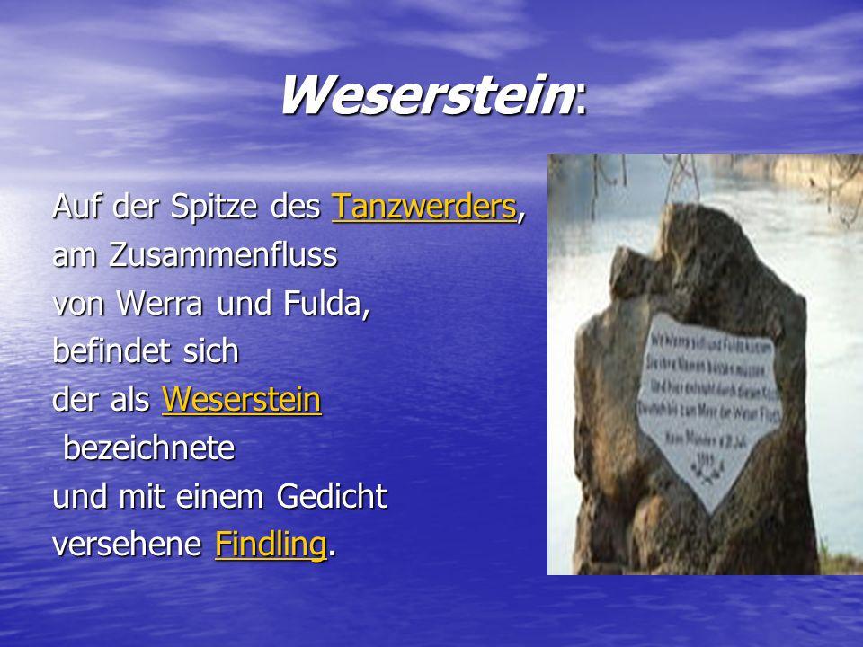 Weserstein: Auf der Spitze des Tanzwerders, Tanzwerders am Zusammenfluss von Werra und Fulda, befindet sich der als Weserstein Weserstein bezeichnete
