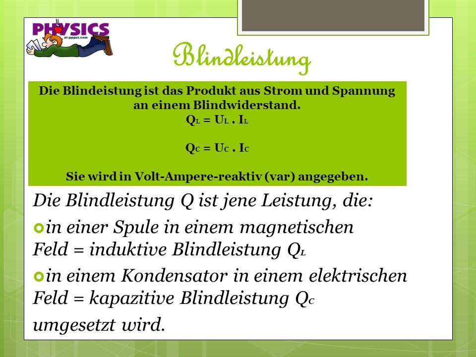 Blindleistung Die Blindleistung Q ist jene Leistung, die: in einer Spule in einem magnetischen Feld = induktive Blindleistung Q L in einem Kondensator