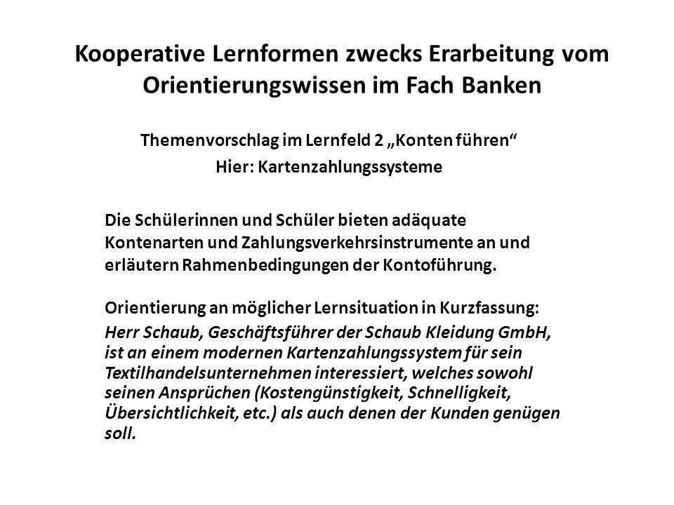 Themenvorschlag im Lernfeld 2 Konten führen Hier: Kartenzahlungssysteme Kooperative Lernformen zwecks Erarbeitung vom Orientierungswissen im Fach Bank