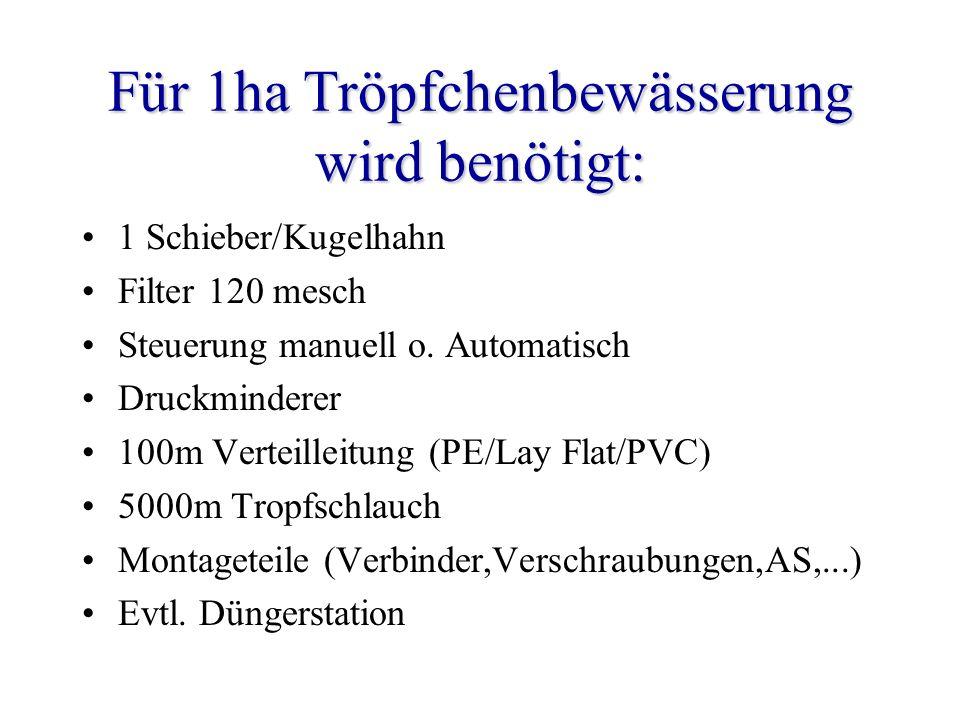 Für 1ha Tröpfchenbewässerung wird benötigt: 1 Schieber/Kugelhahn Filter 120 mesch Steuerung manuell o. Automatisch Druckminderer 100m Verteilleitung (