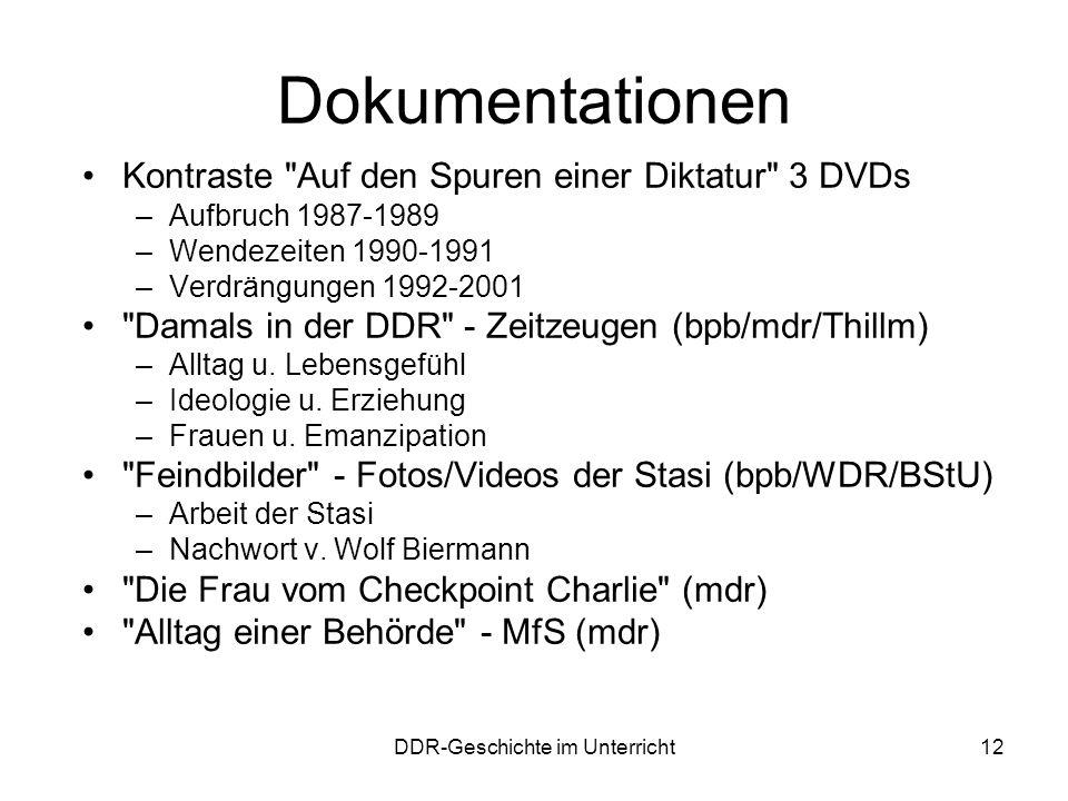 DDR-Geschichte im Unterricht12 Dokumentationen Kontraste
